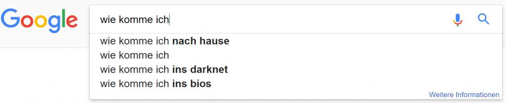 google suchzeile 2 wie komme ich