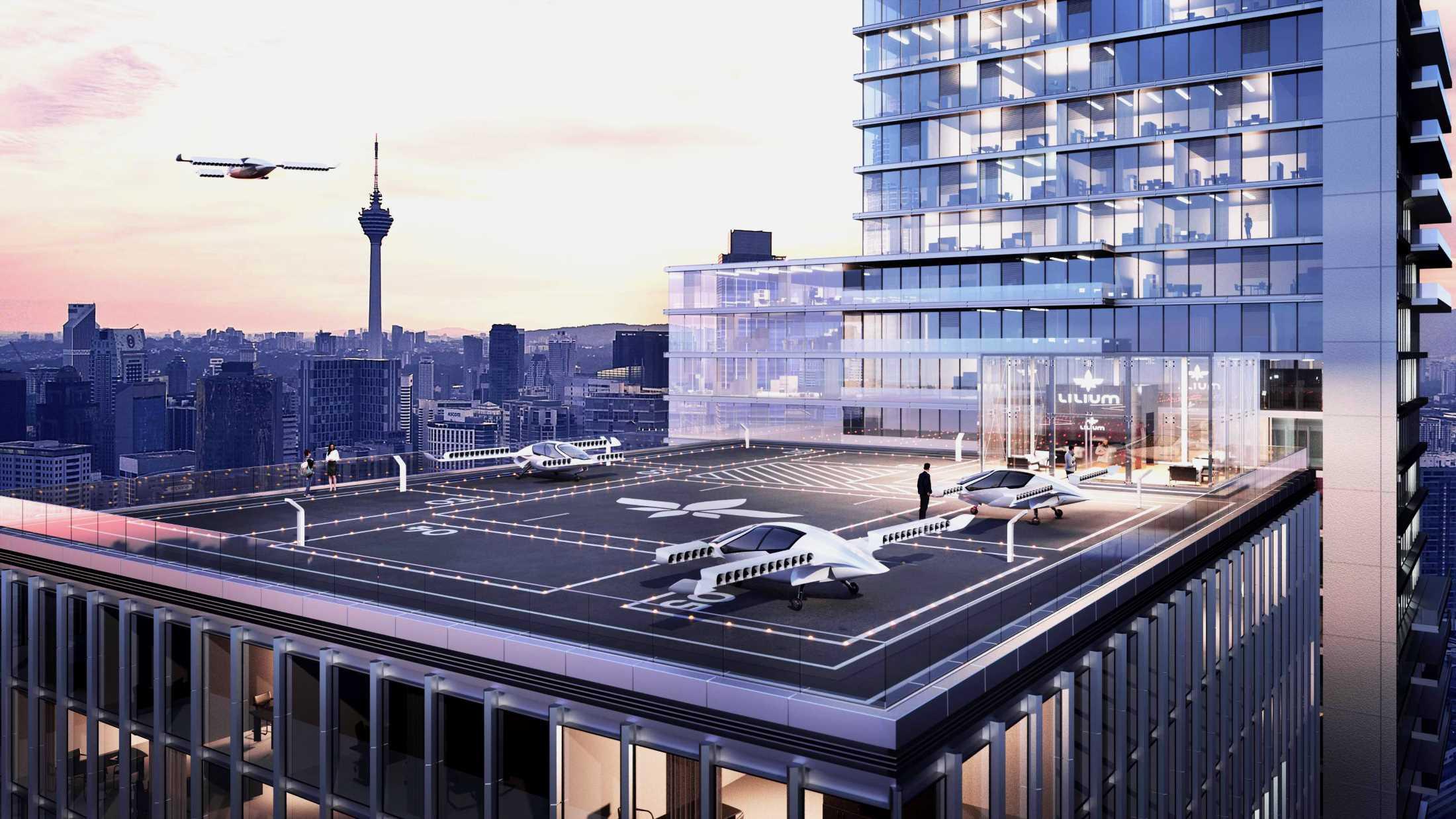 Lilium VTOL vertical take off and landing jet flying on demand air transport future