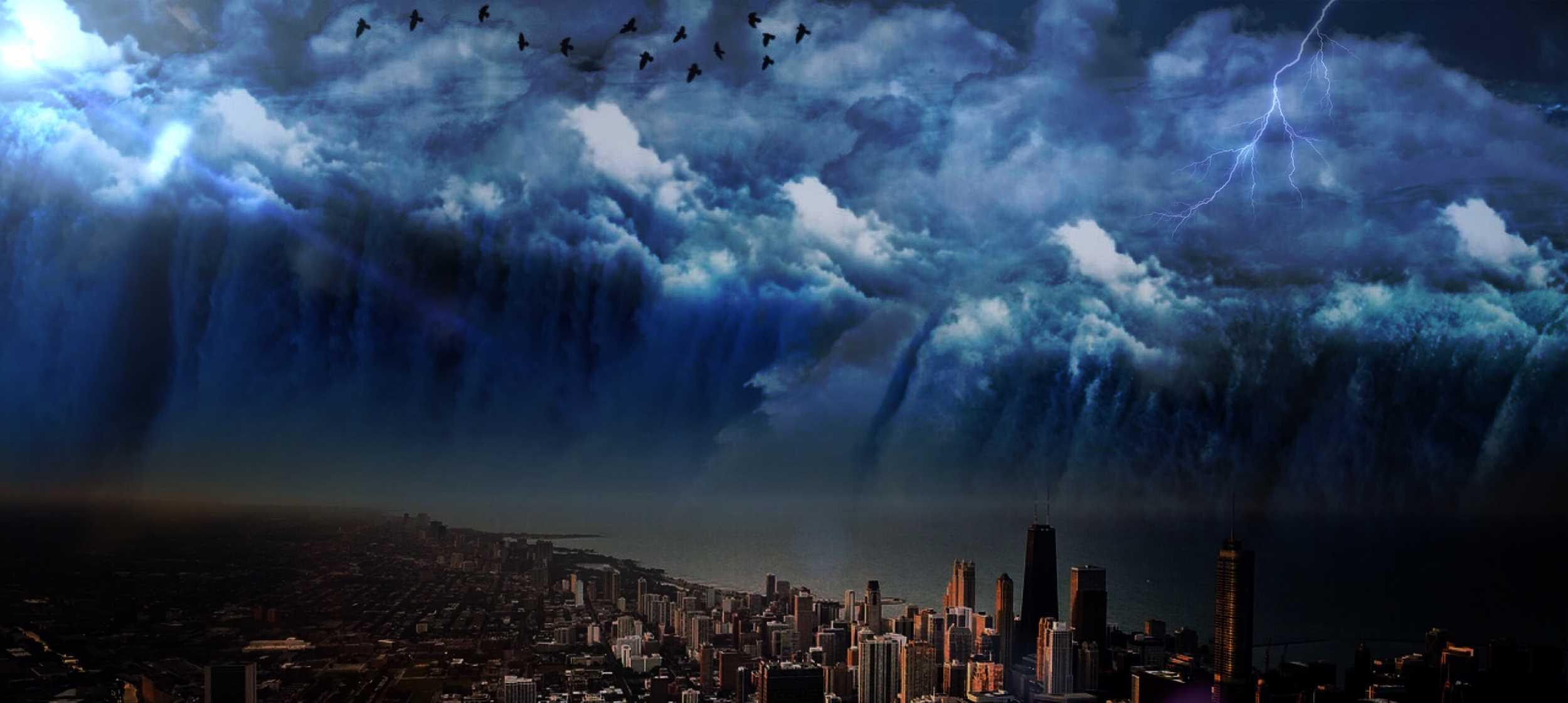 Finanzwelt Tsunami Wirbelsturm Gewitter Flutwelle Bitcoin Blockchain Kryptowährungen