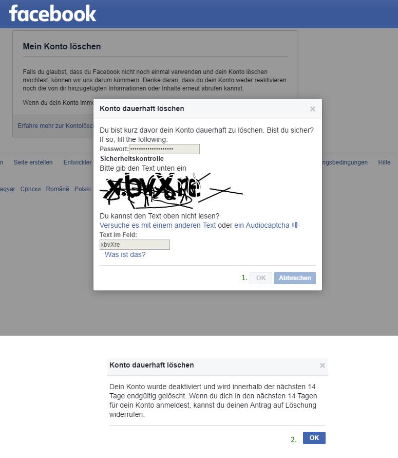Facebook Account gelöscht delete my facebook